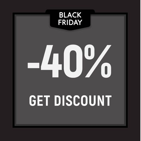 Black friday sale, limited offer, get discount web button. Vector poster. Çizim