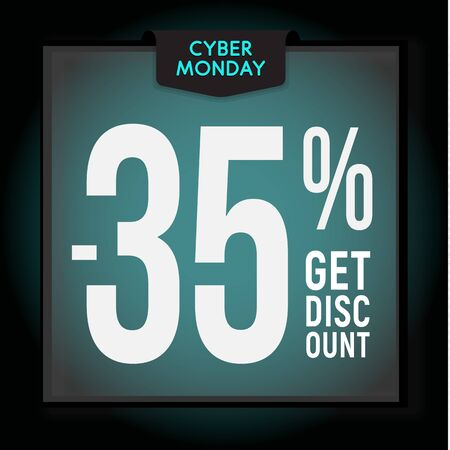 35 percent OFF. Holiday discount. Cyber Monday Sale. Modern Banner template for advertising. Çizim