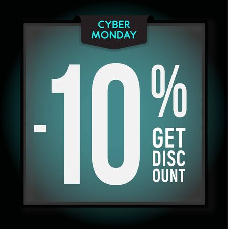 10 percent OFF. Holiday discount. Cyber Monday Sale. Modern Banner template for advertising. Vector illustration.