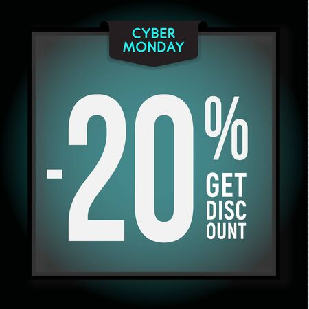 20 percent OFF. Holiday discount. Cyber Monday Sale. Modern Banner template for advertising. Vector illustration.