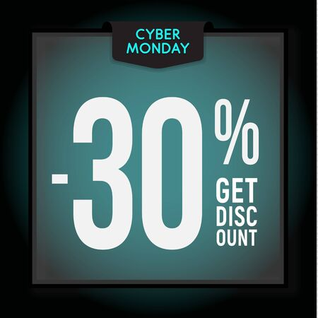 30 percent OFF. Holiday discount. Cyber Monday Sale. Modern Banner template for advertising. Vector illustration. Çizim