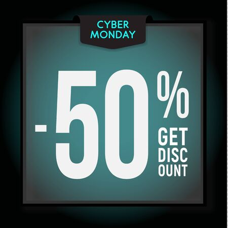 50 percent OFF. Holiday discount. Cyber Monday Sale. Modern Banner template for advertising. Vector illustration.