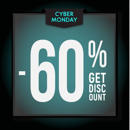 60 percent OFF. Holiday discount. Cyber Monday Sale. Modern Banner template for advertising. Vector illustration. Çizim