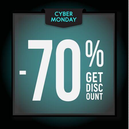 70 percent OFF. Holiday discount. Cyber Monday Sale. Modern Banner template for advertising. Vector illustration.