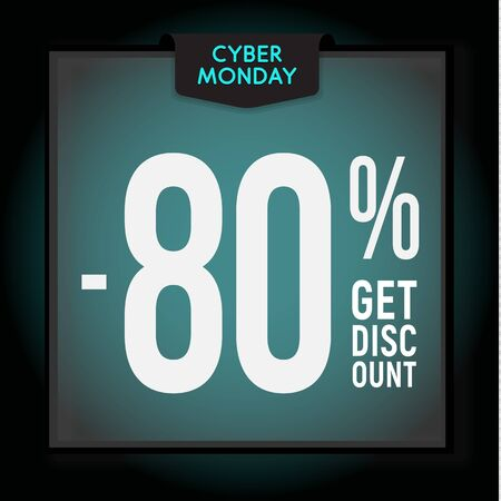 80 percent OFF. Holiday discount. Cyber Monday Sale. Modern Banner template for advertising. Vector illustration.