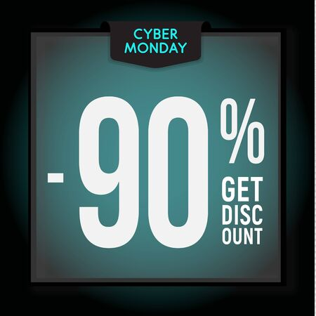 90 percent OFF. Holiday discount. Cyber Monday Sale. Modern Banner template for advertising. Vector illustration.