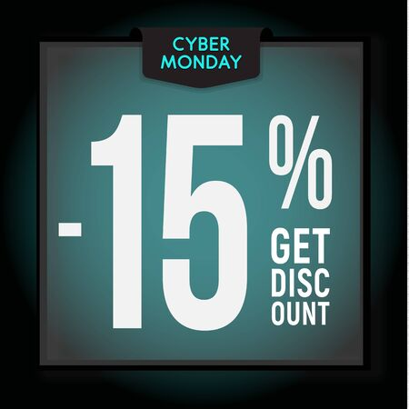 15 percent OFF. Holiday discount. Cyber Monday Sale. Modern Banner template for advertising. Vector illustration.