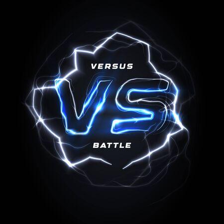 Versus VS round blue  . Battle headline template. Sparkling lightning design. Isolated vector illustration on black background.