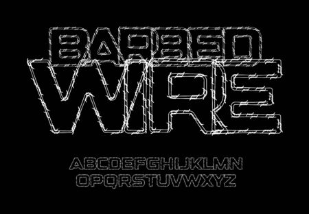 Barbed wire letters and numbers set. Thin contour lines, style vector latin alphabet. Çizim
