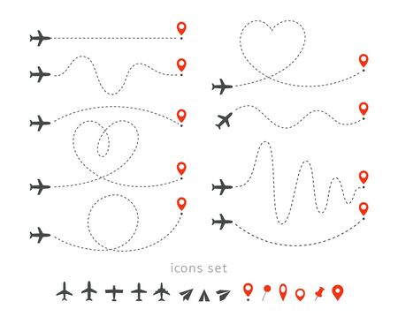 Set icons of travel way by plane. Takeoff and landing of a passenger plane. Flight route infographic elements. Flight by airplane, aviation tourism vector isolated illustrations collection. Stok Fotoğraf - 128748022