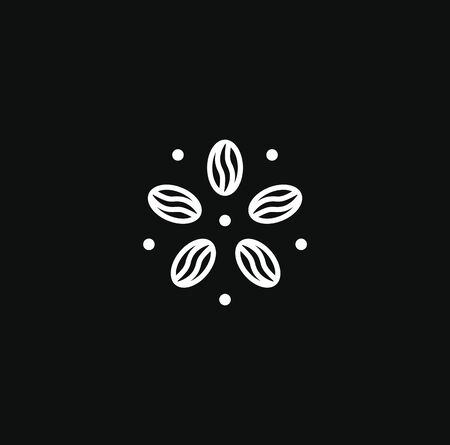 Coffee  modern concept. Coffee bean icon. Abstract energy drink   template. Isolated vector emblem on blank background. Çizim