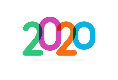 Bright colored 2020 numbers, modern event decoration, design elements for new year decor, invitation or greeting card.