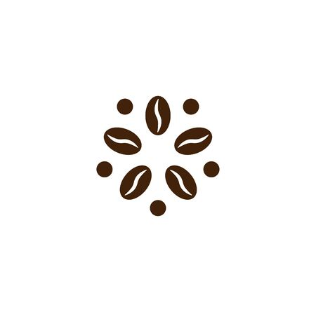 Coffee modern concept. Coffee bean icon. Abstract energy drink template. Isolated vector emblem on blank background.