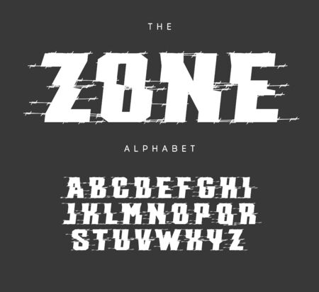 Exclusion zone letters and numbers set. Bold cutted style vector latin alphabet.