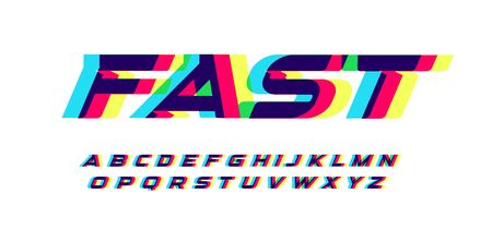 Overprint letters and numbers set. Glowing red blue yellow spectrum effect style vector latin alphabet. Çizim