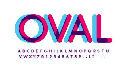 Overprint letters and numbers set. Glowing blue and purple spectrum effect style vector latin alphabet. Çizim