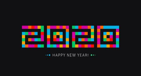 Happy New Year icon. 2020 year logo. Modern stylish greeting card template. Mosaic tiles style numbers. Stained glass window on black background. Vector illustration. Çizim