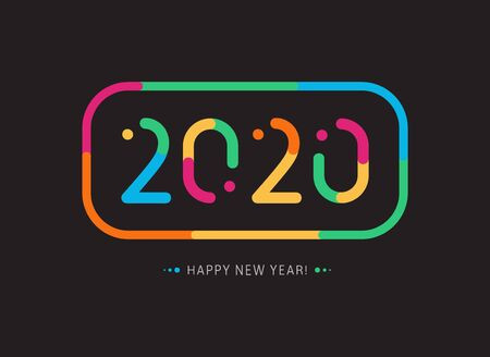 Bright multicolored 2020 symbol with colored frame. New Year cover design for cards, invitations, banners, calendar and party decoration. Vector illustration on black background. Creative design.