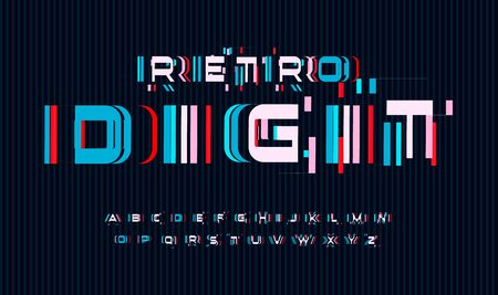 Screen glitches letters set. No signal or bad signal for vector alphabet. Led screen rgb error effect for font. Typography design.