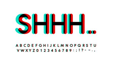 Overprint letters and numbers set. Glowing turquoise and red spectrum effect style vector latin alphabet.