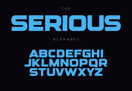 Serious bold alphabet concept for headline, monogram, promo. Geometric uppercase letters. Modern typography design.