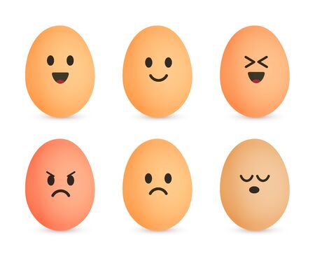 Egg icon set. Cheerful eggshell characters. Emotional face on eggs. Vector isolated illustration. Çizim