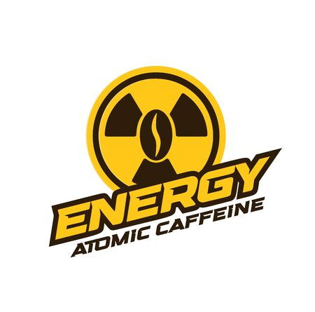 Energy drink  modern concept. Atomic caffeine banner concept. Coffee power abstract emblem. Isolated vector poster. Çizim