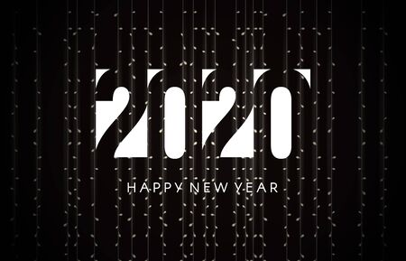 2020 happy new year greeting card for night new year party.