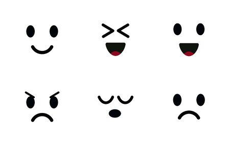 Emoji icon set. Characters faces, cute emoticon, mood symbols. Smiling, happy, joyful, sad and angry face. Isolated vector illustration on white background.
