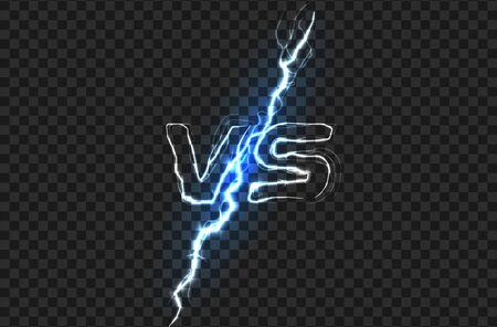 Versus VS Battle headline template. Sparkling lightning design. Isolated vector illustration on black background.