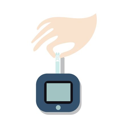 World Diabetes Day symbol. Awareness medical infographic design element. Hand with blood from finger on blood glucose meter, vector illustration