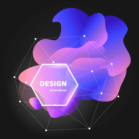 Abstract gradient wavy shape with white frame and polygon mesh on black background. Trendy liquid or fluid flow banner template. Isolated vector illustration. Çizim