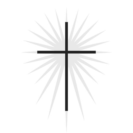 Christian symbol, black thin cross with lighting icon.