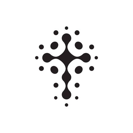 Christian symbol, black connection dots icon.