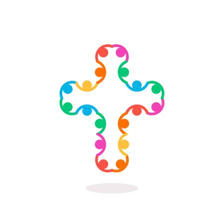 Christian symbol, colorful connection people cross icon.