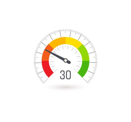 Business meter, indicator icon with colorful segments. Info graphic for business rating and quality control, vector illustration.
