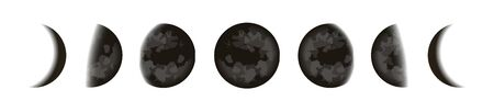 Black moons icons set, lunar phases in night starry sky, Shape of the directly sunlit portion of the Moon as viewed from Earth, vector illustration.