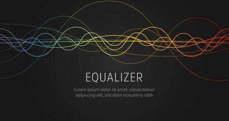 Equalizer sound wave colorful wavy lines on black background. Ilustração
