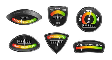 Analog business speedometers collection. Set of retro stylish icons on a black background in speedometer form. Vintage displays set with evaluation results. Vector illustration. 向量圖像