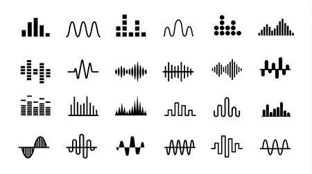 Set di icone di onde radio. Onda sonora semplice monocromatica su priorità bassa bianca. Illustrazione vettoriale isolato.