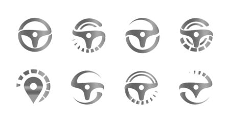 Automobile steering wheels, set of abstract icons,template for car service, auto repair shop emblems, tire fitting symbols, racing competitions and tuning studios   collection.