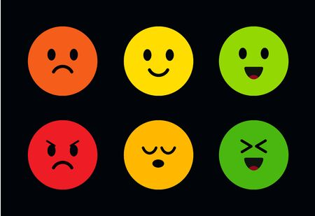 Multi-colored round cute faces with different facial expressions. Icons of face with different moods from evil to good, from happy to sad. Funny and cute emoticons on a black background. Vector icons.