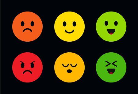 Visages mignons ronds multicolores avec différentes expressions faciales. Icônes de visage avec différentes humeurs du mal au bien, du joyeux au triste. Émoticônes drôles et mignonnes sur fond noir. Icônes vectorielles. Vecteurs