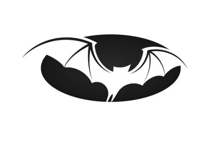 Bat in flight, wide wings, negative space silhouette of bat on black oval background, vector illustration.