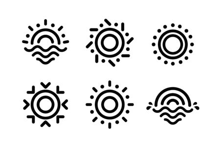 Abstract linear Sun icons set. Unusual outline drawing shape for solar energy business. Ilustracja