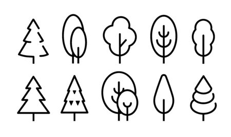 Tall Tree vector icons set. Simple flat line style icon design. 向量圖像