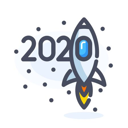 2020, new year numbers cartoon design with flying in space or in the sky rocket among stars or snowflakes. Isolated vector illustration.