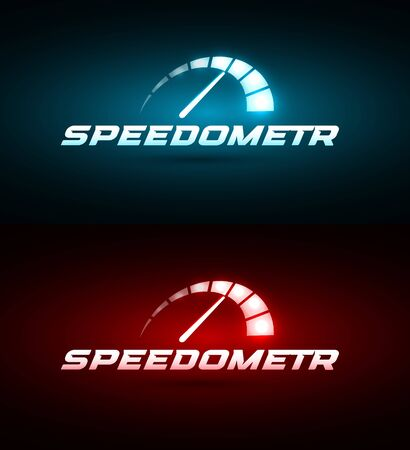 Speedometer icon. Blue and red Glowing speed indicator. Automotive  template. Modern car emblem idea. Auto service Concept design for business. Isolated vector illustration on black background.