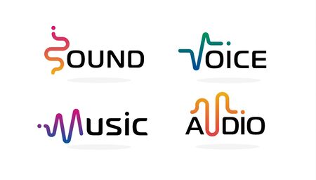 Sound wave icons set. Music waves symbols. Voice equalizer emblems idea. Modern creative vector logotype collection on blank background.