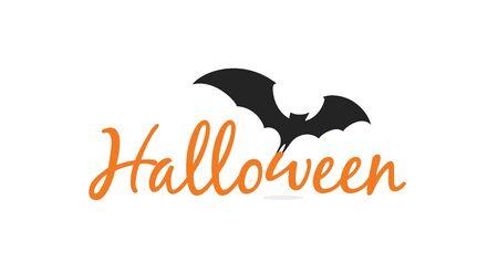 Halloween elegant lettering with black silhouette of flying bat. Illustration